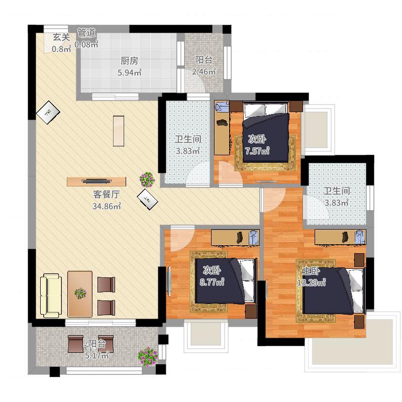 朝南维港半岛3室2厅2卫1厨107.00㎡户型图