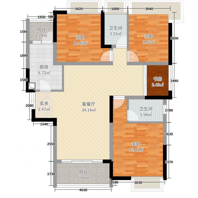 华鸿榄悦轩4室2厅2卫1厨120.00㎡户型图