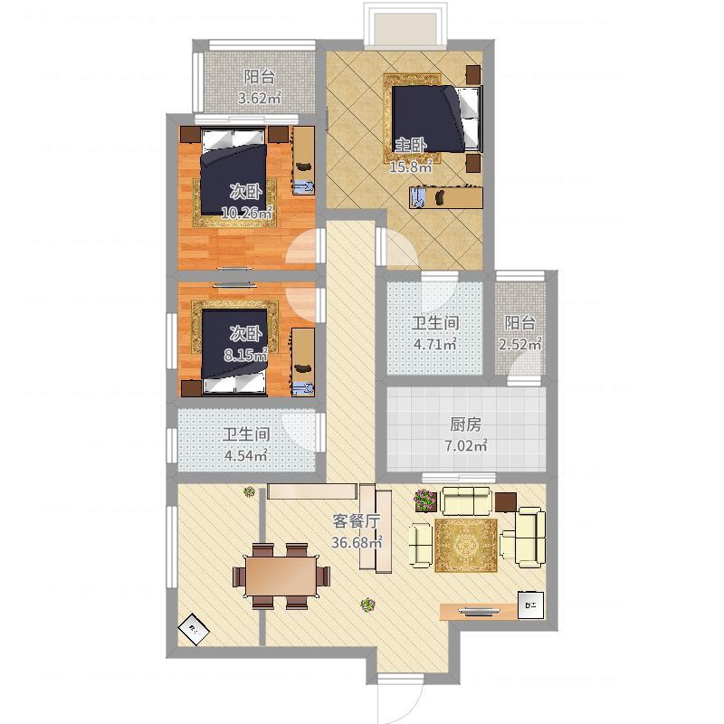 浩华北郡3室2厅2卫1厨117.00㎡户型图