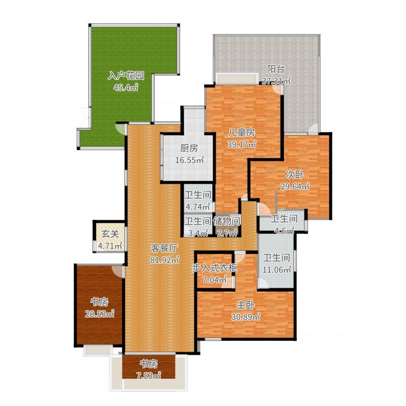 中国户型大全 合肥 绿地内森庄园 5室2厅4卫1厨 130㎡及以上  户型图
