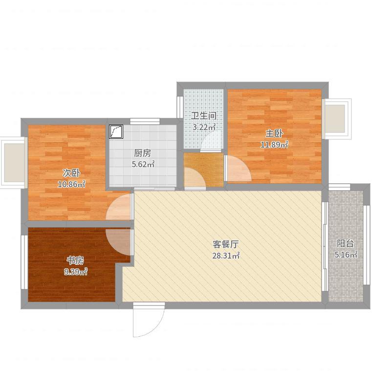 华润中心悦锦湾3室2厅1卫1厨95.00㎡户型图