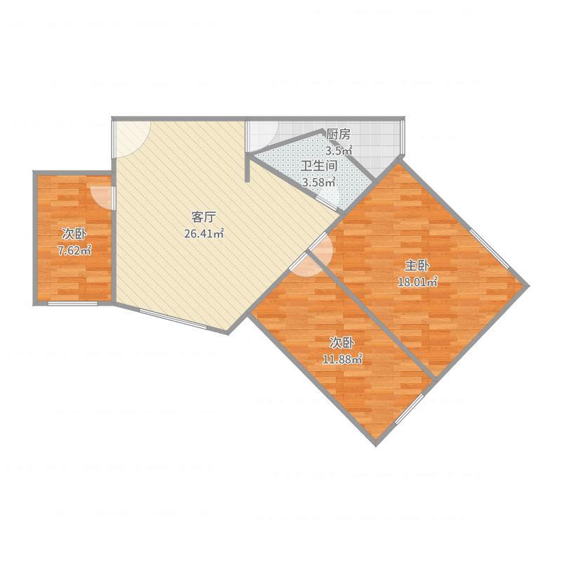 中国核动力院宿舍3室1厅1卫1厨89.00户型图广告设计属于什么系别图片