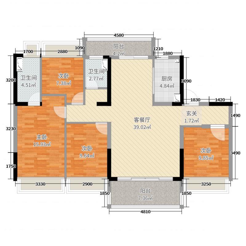 永兴碧桂园户型:yj140t户型四室两厅两卫4室2厅2卫1厨