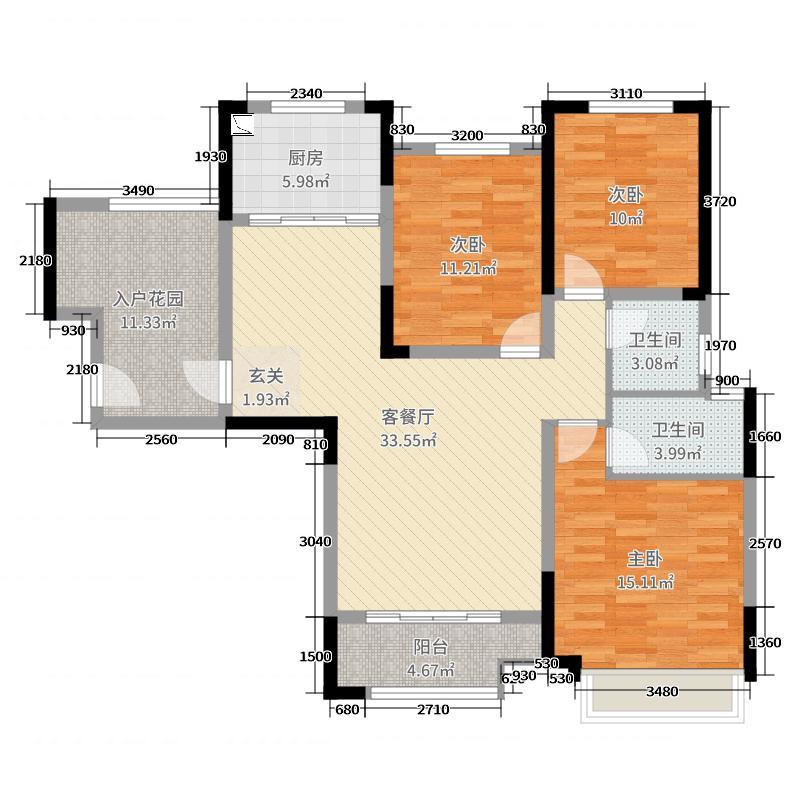 路劲御城3室2厅2卫1厨125.00户型图户型图别墅高邮市东城首府图片