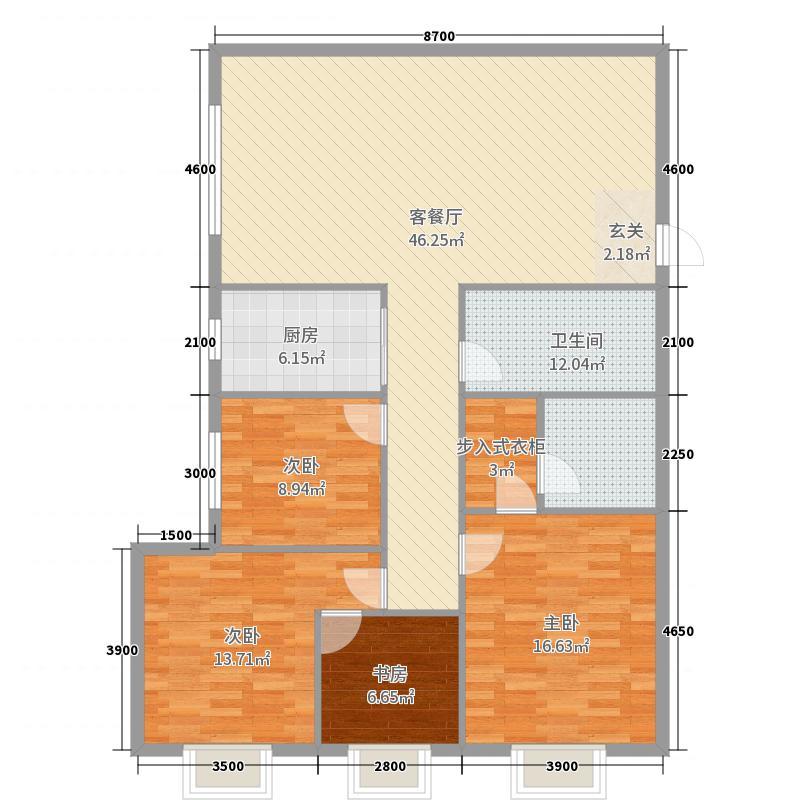 佳雨悦城4室2厅1卫1厨157.00户型图户型图中国建筑v户型研究院上海院图片