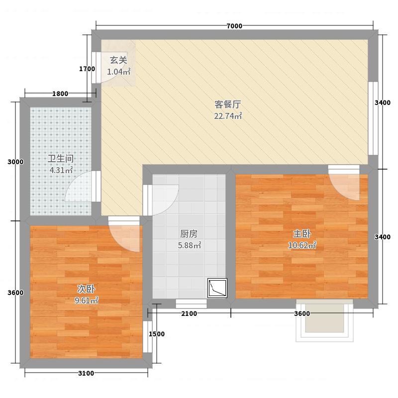 佳雨悦城2室2厅1卫1厨78.00户型图户型图大平面v户型词典视觉微盘图片