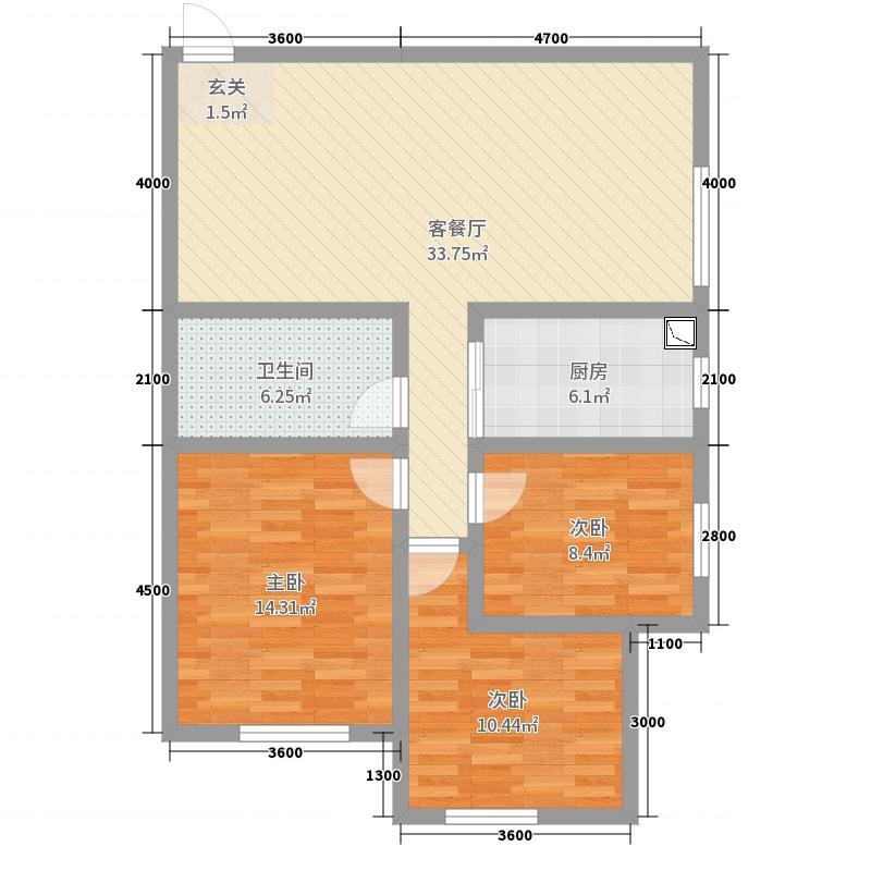 佳雨悦城3室2厅1卫1厨116.00户型图户型图平面设计专业v户型图片