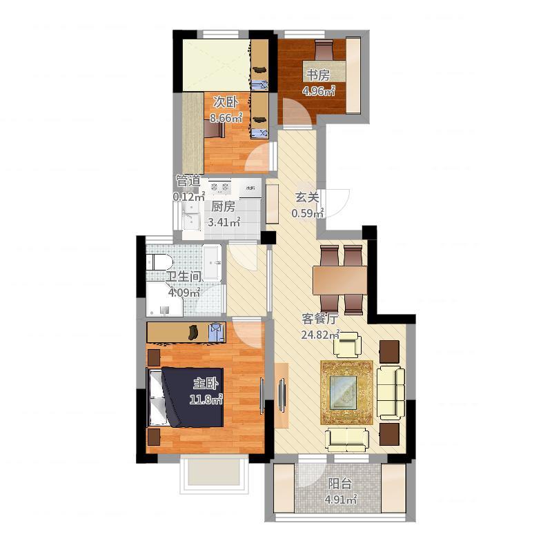 远洋水岸三期一方世界3室2厅1卫1厨78.00户网上室内设计v远洋图片