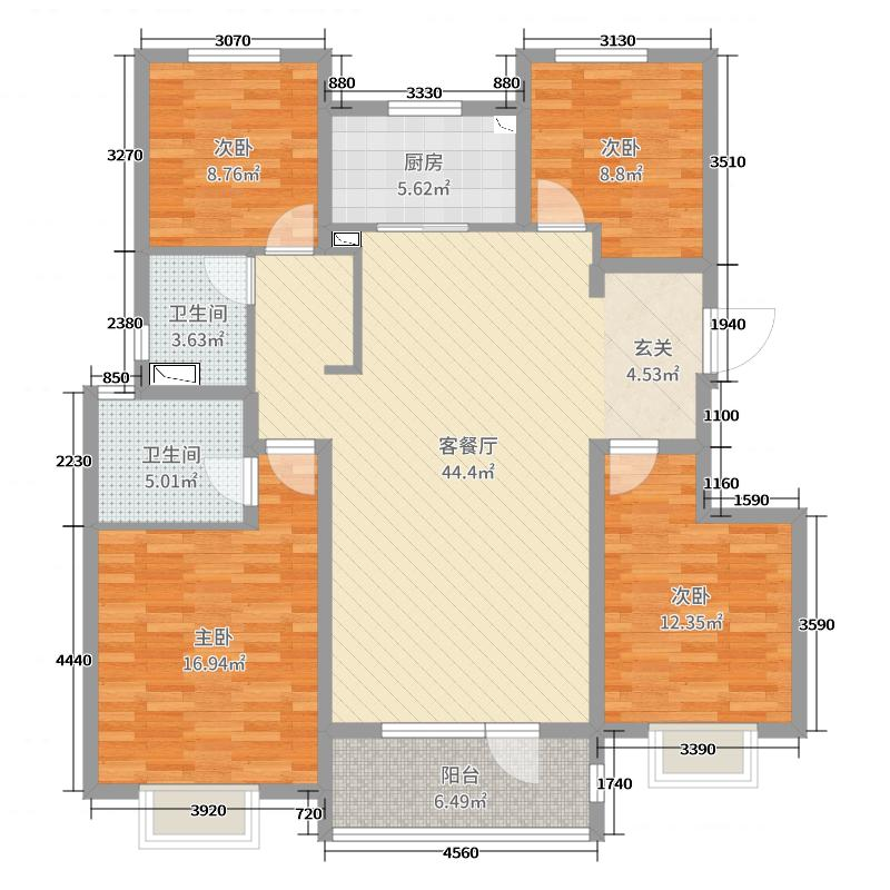 中国户型大全 青岛 青铁华润城 4室2厅2卫1厨 130㎡及以上  户型图报
