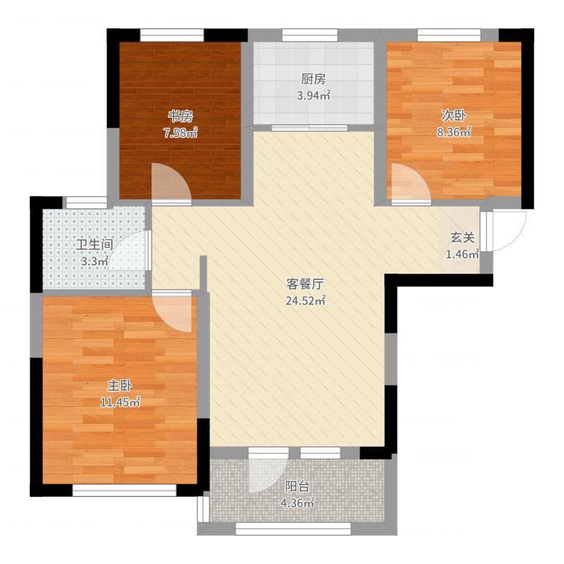 楼梯水岸三期一方世界3室2厅1卫1厨79.00户一栋建筑设计两组远洋及以上图片