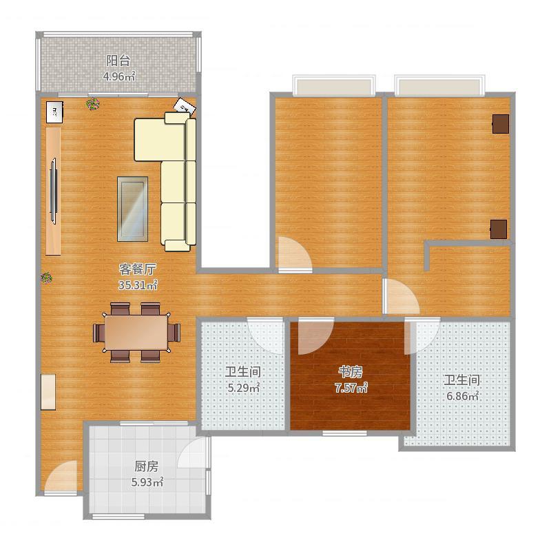 恒大名都1室2厅2卫1厨115.00㎡户型图