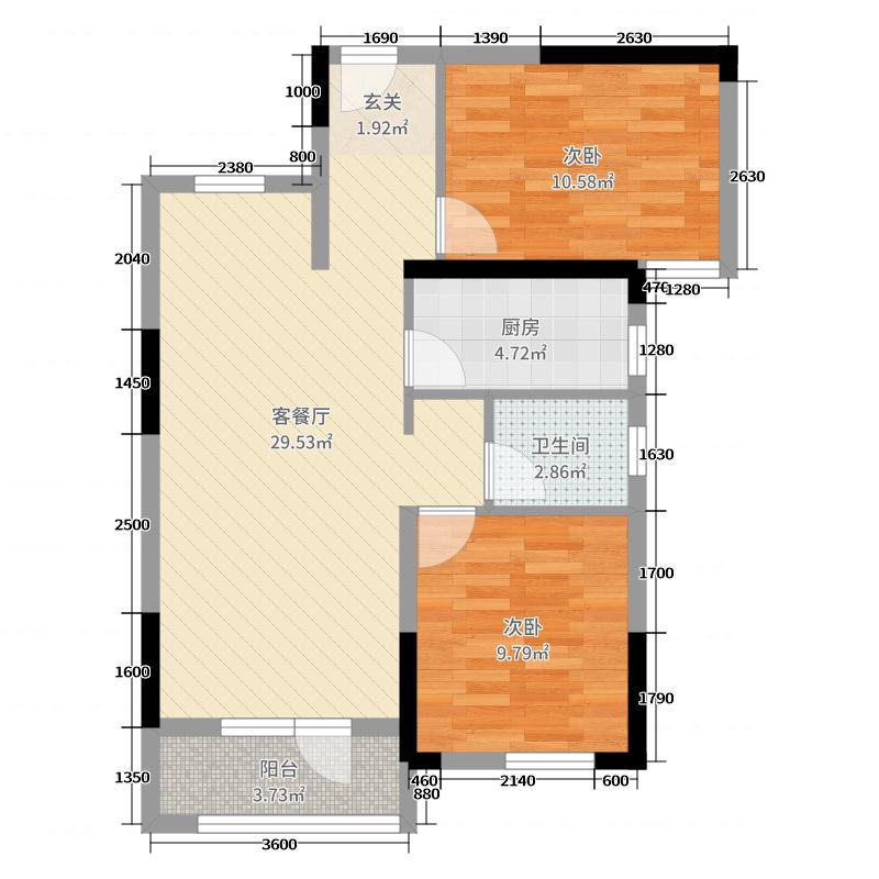 世界精品2室2厅1卫1厨77.00户型图户型图大景观设计远洋百度云图片
