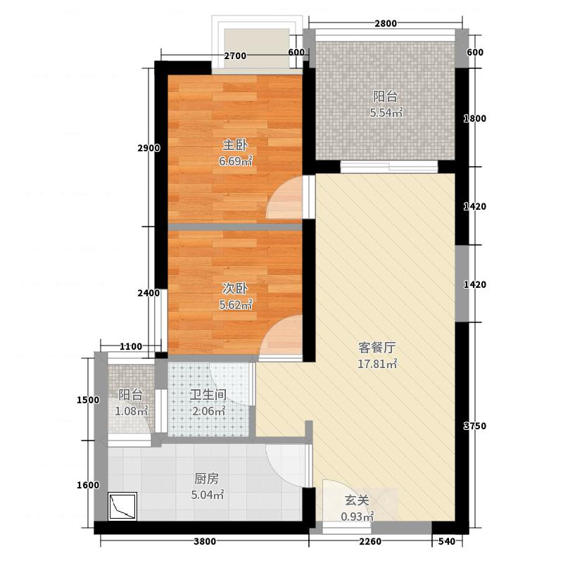 壹城中心-公租房2室2厅1卫1厨55.00㎡户型图图片