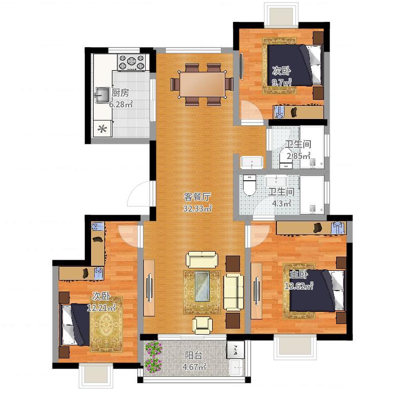 招商中环华府3室2厅2卫1厨115.00㎡户型图