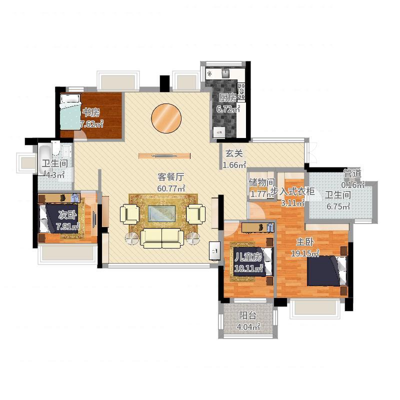 星英半岛4室2厅2卫1厨162.00㎡户型图