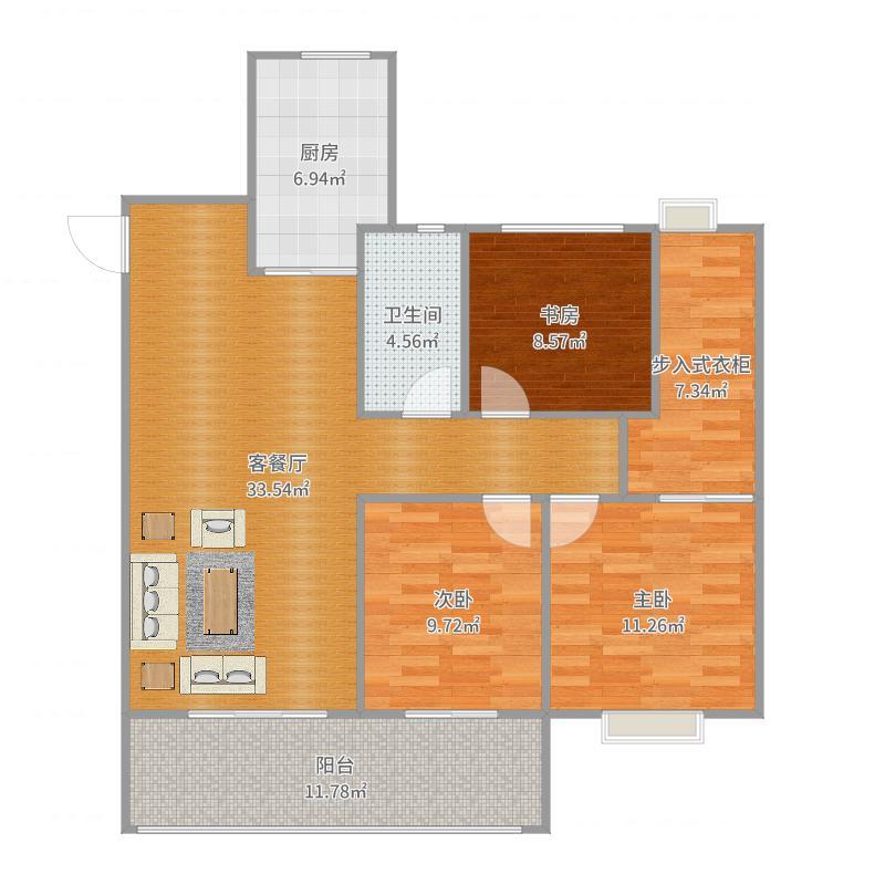 华润悦锦湾3室2厅1卫1厨117.00㎡户型图