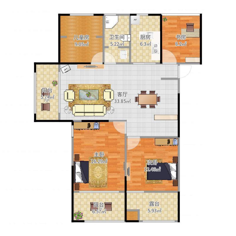 如皋瑞景华府4室1厅1卫1厨131.00㎡户型图