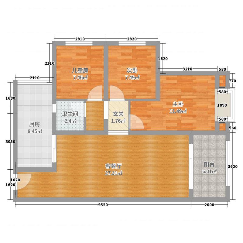 秀湖鹭岛3室2厅1卫1厨102.00㎡户型图