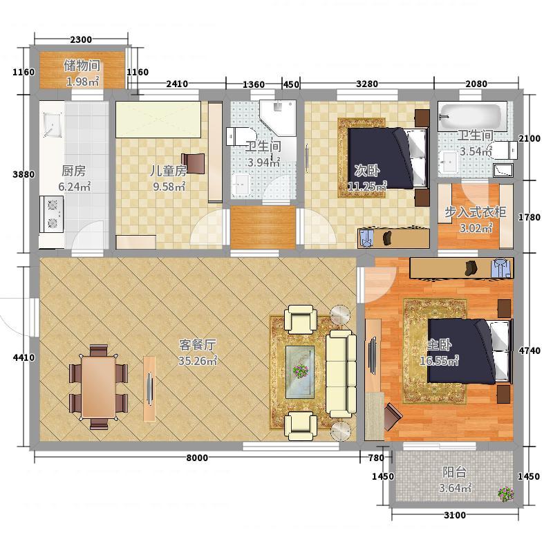 浩华北郡2室0厅2卫1厨129.00㎡户型图