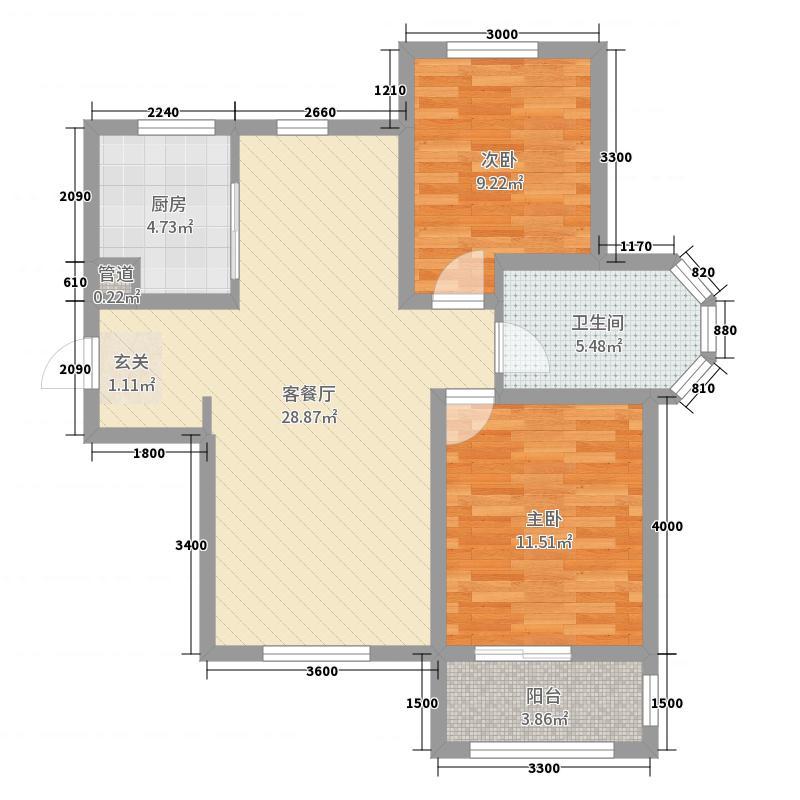 金屋秦皇半岛二区2室2厅1卫1厨74.00㎡户型图
