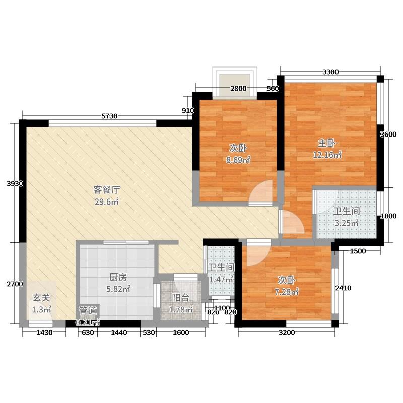 中国户型大全 成都 百悦城4期 3室2厅2卫1厨 80-100�O  ***用户上传