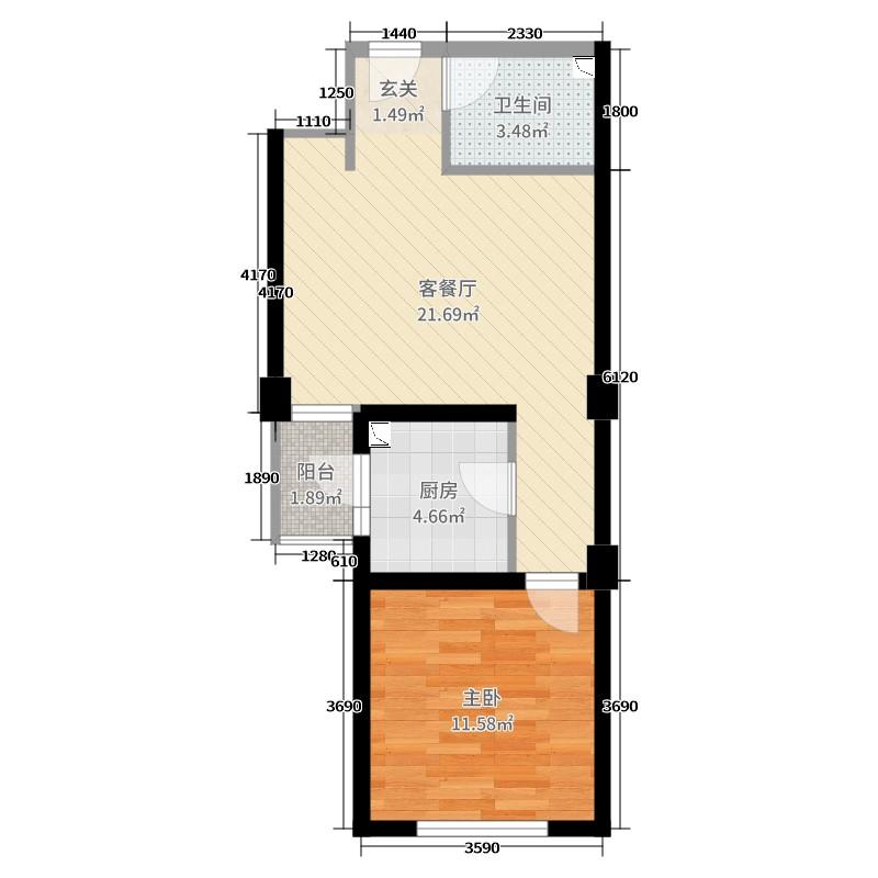 新城望泉寺公租房1室2厅1卫1厨54.00㎡户型图图片