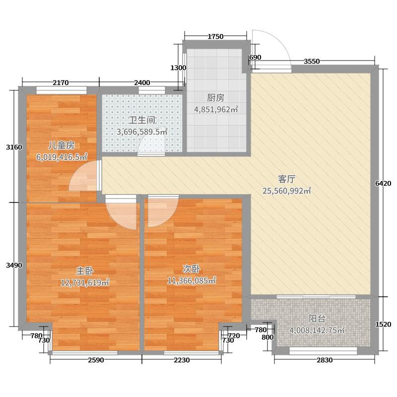 如皋中南世纪城3室1厅1卫1厨90.00㎡户型图