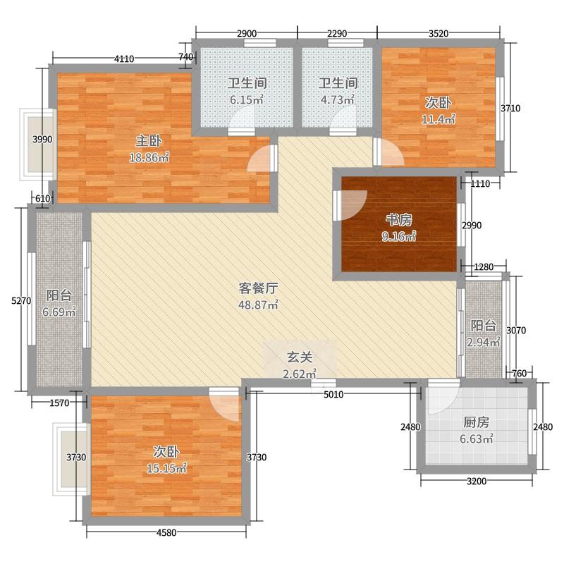 兰石豪布斯卡4室2厅2卫1厨163.00户型图户学费室内设计图片
