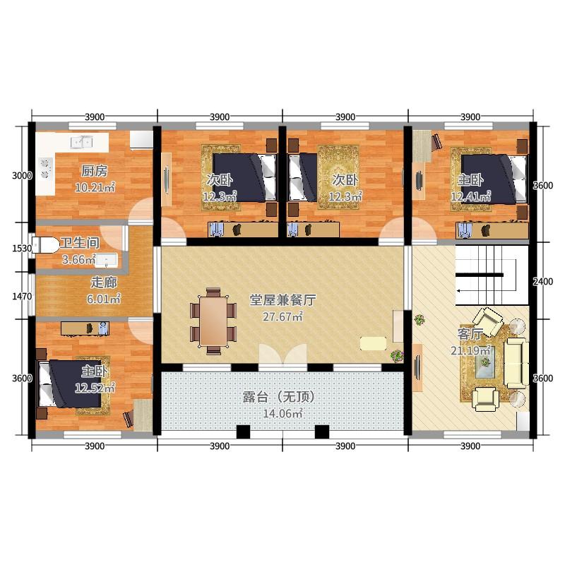 农村自建房4室1厅1卫1厨165.00㎡户型图