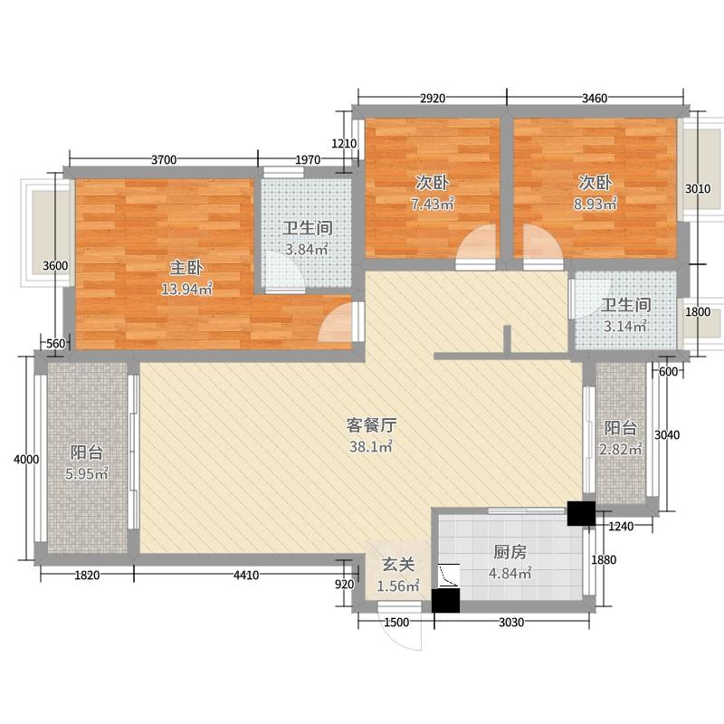 龙城信丰桃江3室2厅2卫1厨111.00户型图职业高中武汉市第四图片