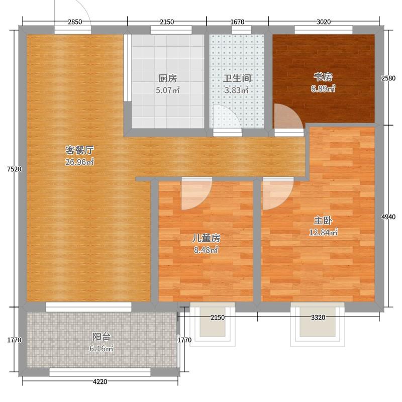 华润悦锦湾3室2厅1卫1厨88.00㎡户型图