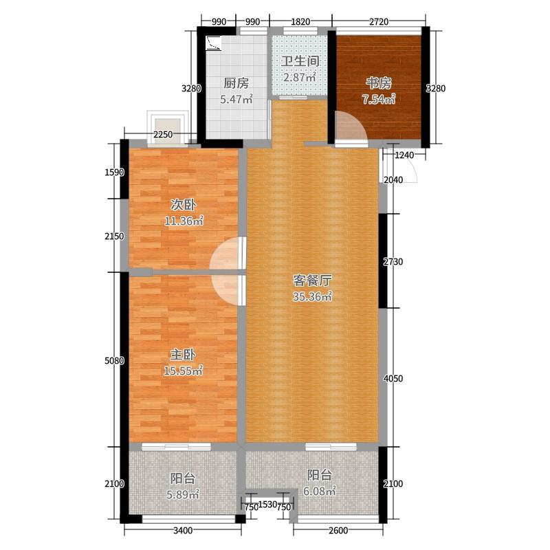 如皋瑞景华府3室2厅1卫1厨113.00㎡户型图