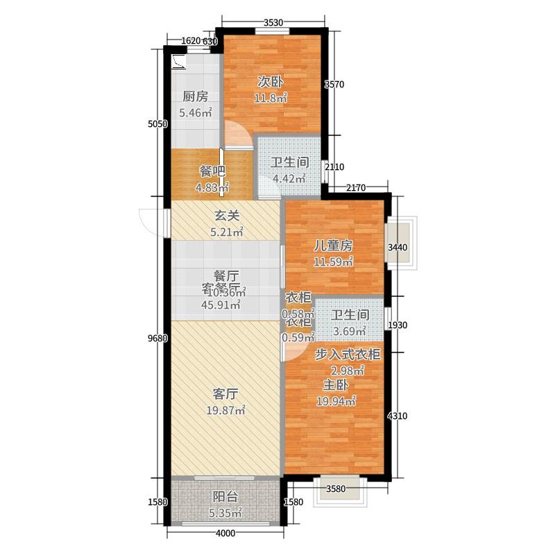 新晋世家3室2厅1卫0厨130.00㎡户型图