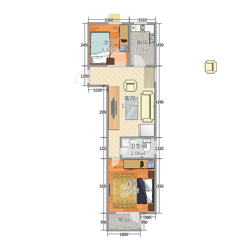 新城望泉寺公租房2室1厅1卫1厨41.00㎡户型图图片