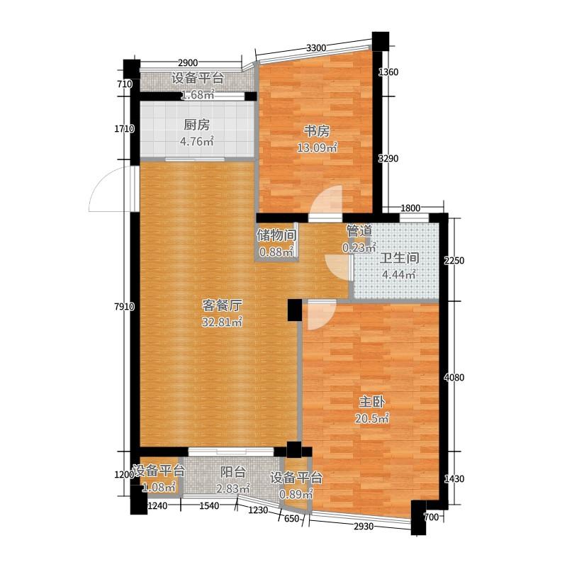 南通绿城玉兰公寓2室2厅1卫1厨104.00㎡户型图