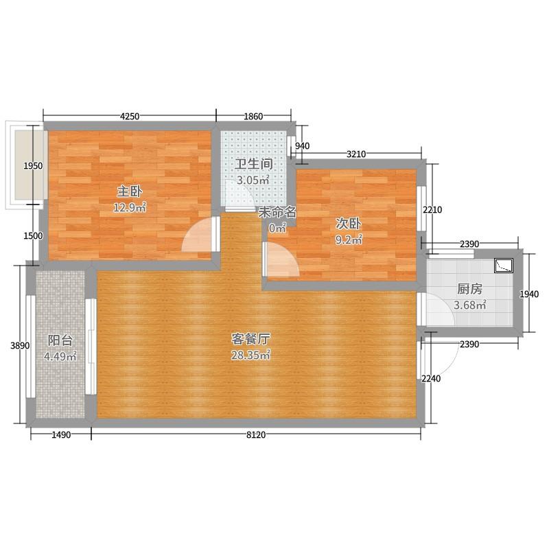 华润悦锦湾2室2厅1卫1厨100.00㎡户型图