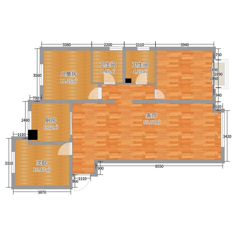 兰石豪布斯卡-6号楼2室1厅2卫1厨135.00户地下城与勇士ss设计图图片