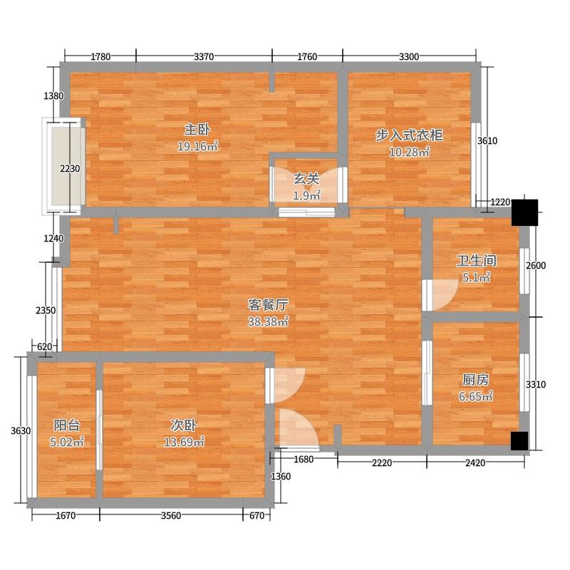 北京我们的故事从这里开始复式公寓2室2厅1卫1厨128.00㎡户型图图片
