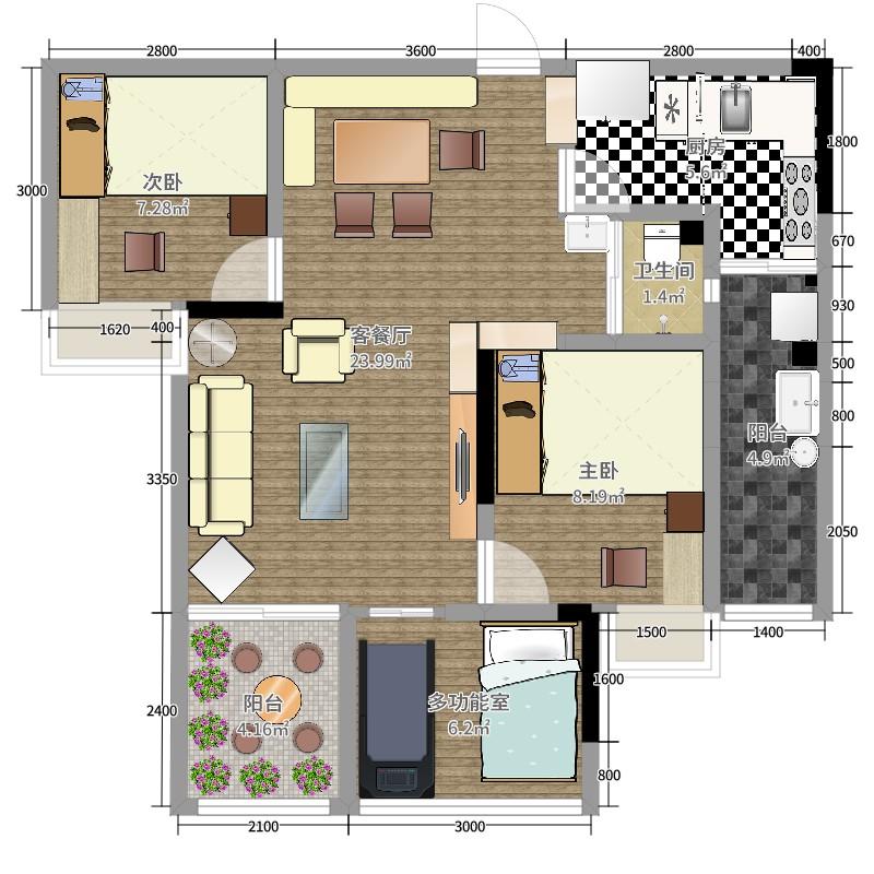万州金悦湾2室2厅1卫1厨77.00户型图户型图用什么热水器别墅装修图片