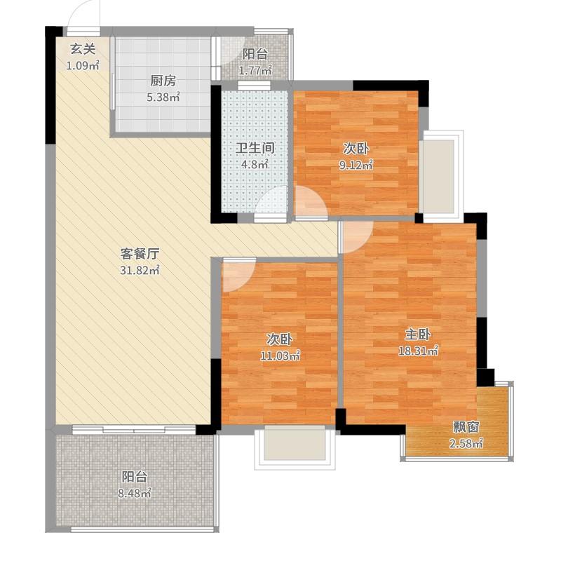 阳光花园3室2厅1卫1厨113.00㎡户型图