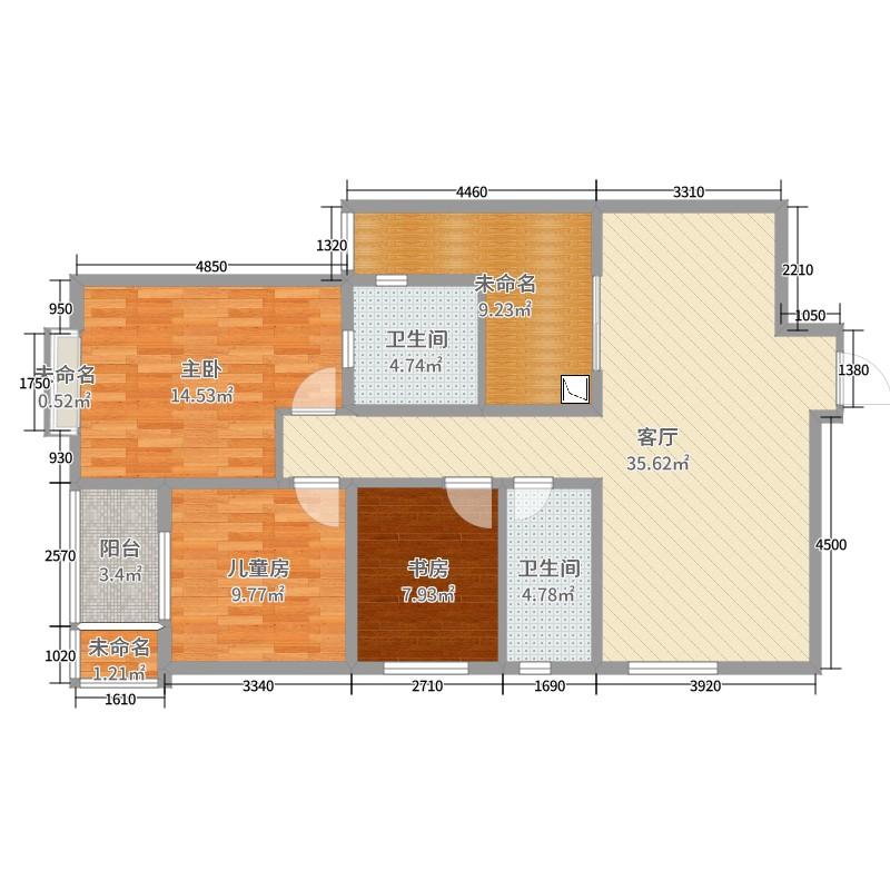 浩华北郡3室1厅2卫0厨116.00㎡户型图