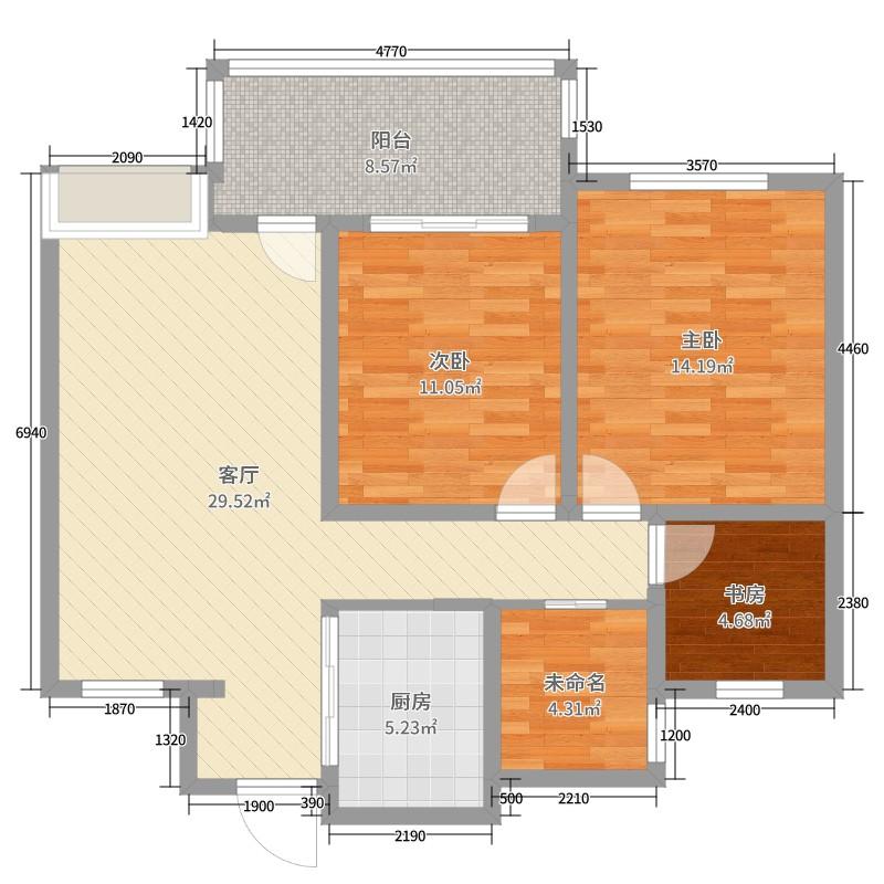 丹阳紫竹园_丹阳市紫竹园3室1厅0卫1厨99.00㎡户型图