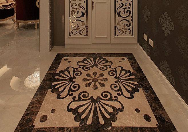 198平欧式古典玄关客厅餐厅厨房卧房装修效果图