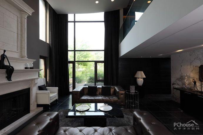 现代欧式二层别墅客厅效果图
