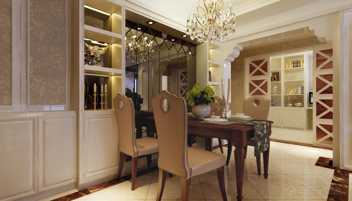 97㎡二居室欧式风格餐厅背景墙装修效果图-欧式风格餐桌餐椅图片3