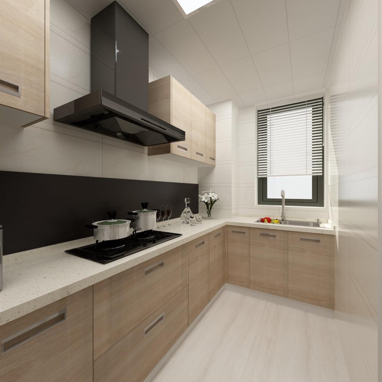 品阁个人设计工作室_125方现代北欧两居_厨房全景效果图