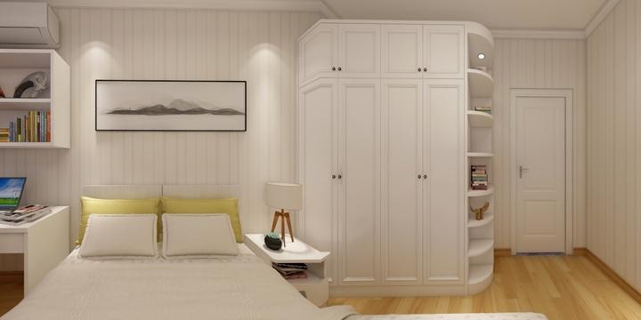 主卧 主卧以舒适简洁的氛围为基础,并带有装饰性转角衣柜和简洁的书桌图片