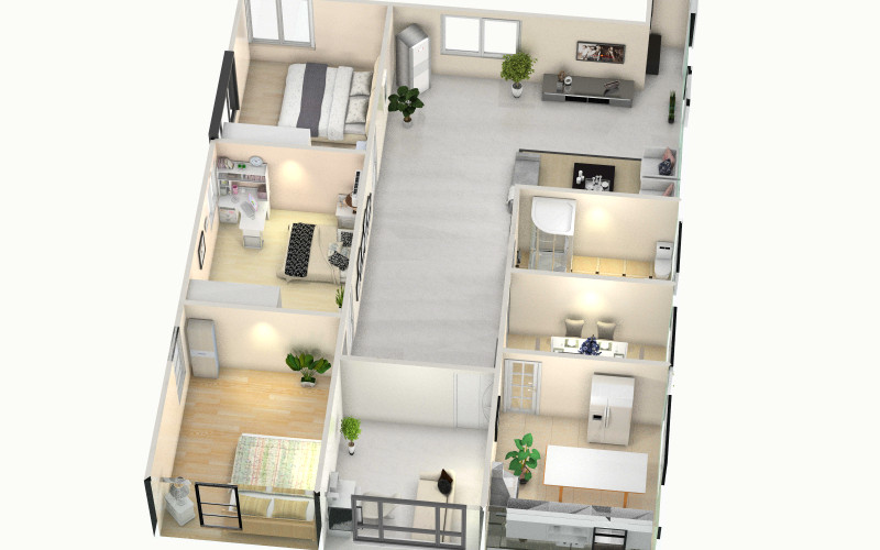 四室两厅一卫一厨装修设计方案