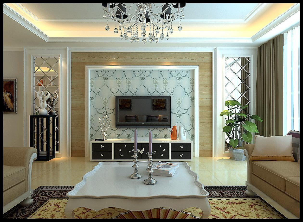 客厅电视墙采用拼镜和干挂米黄色的大理石做材质,大气且永不退色.