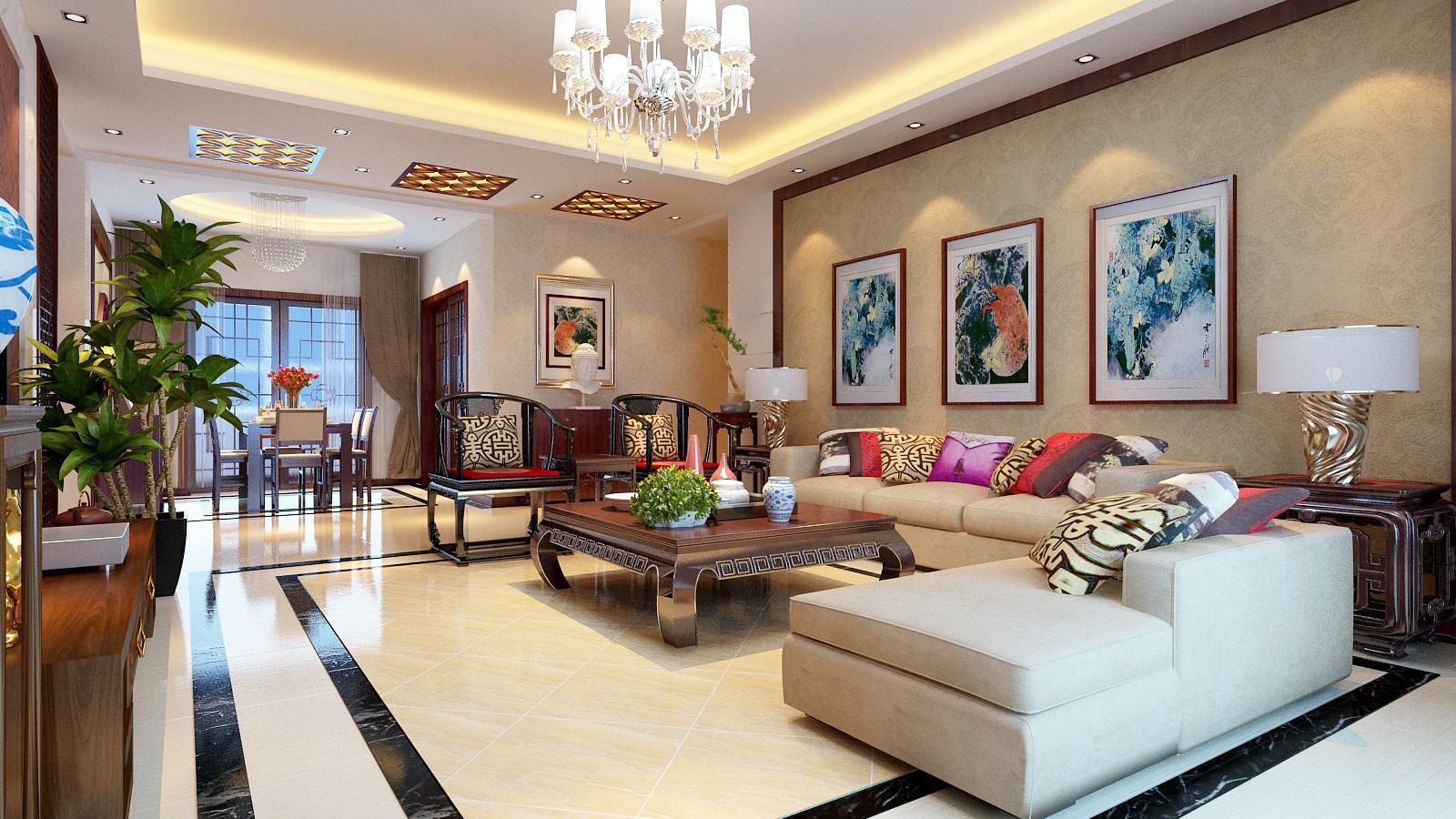 沙发背影墙采用米色壁纸,映射了整个空间的色彩亮度,三幅古典装饰画图片